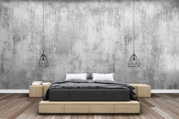 Bedroom with concrete wall and modern bedside lamp