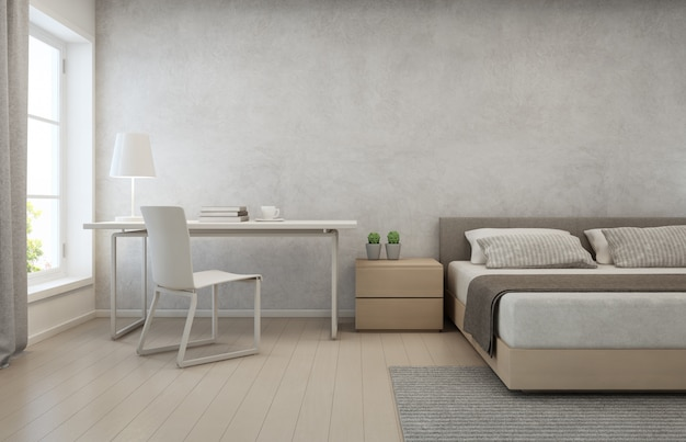 Bedroom with concrete wall in modern house.
