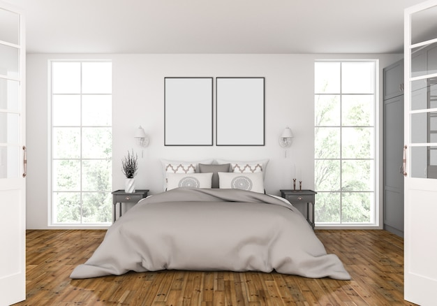 Bedroom with empty double frames mockup
