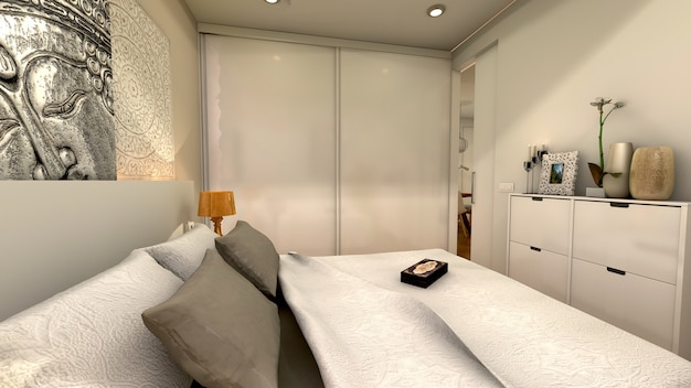 Спальня с этническим стилем и большим шкафом
