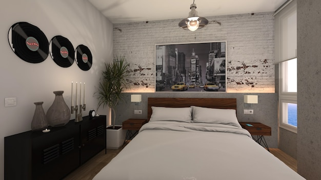 Спальня с промышленной двуспальной кроватью в стиле лофт и окнами с видом на море