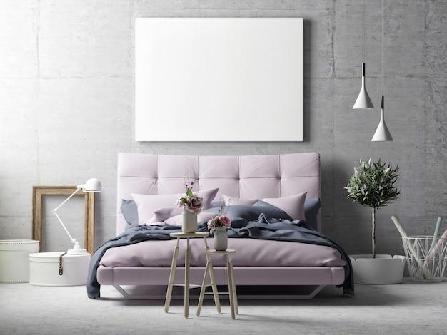 벽 배경에 모형 포스터가있는 침실