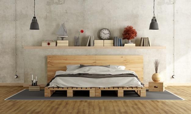 パレットダブルベッド付きのベッドルーム