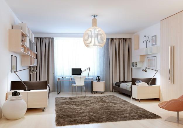 현대적인 디자인의 싱글 침대 2 개가있는 침실.