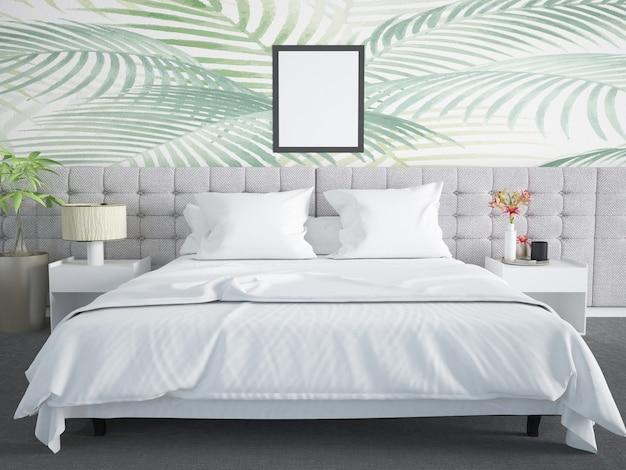 都会のジャングルの壁のある寝室