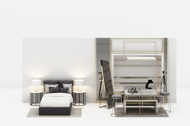 Bedroom with walk in closet jewelry decoration in modern luxury style and grey tone furniture 3d rendering