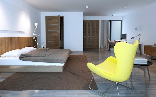 ワードローブルーム付きのベッドルーム。 3dレンダリング