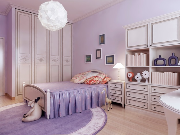 Bedroom with wardrobe and toys.
