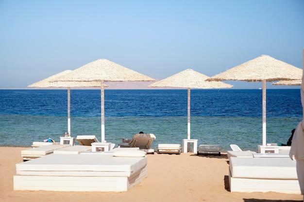 海を背景にホテルの領土に太陽からの傘とビーチのベッド