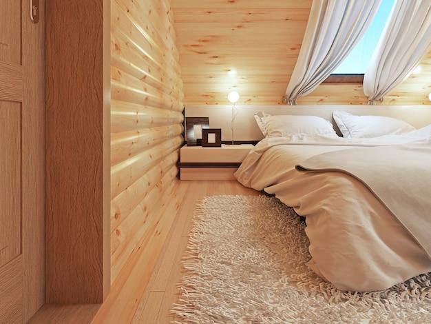 현대 침실의 램프와 플로어 램프가있는 침대 옆 탁자