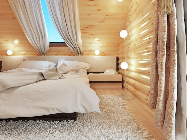 Bedside tables with lamps and a floor lamp in the modern bedroom