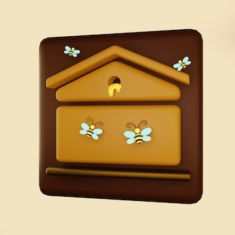 비행 꿀벌과 흐르는 꿀 3d 일러스트와 함께 꿀벌 꿀 아이콘