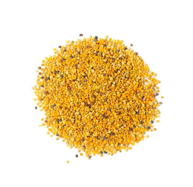 白い背景で隔離の蜂の花粉またはperga