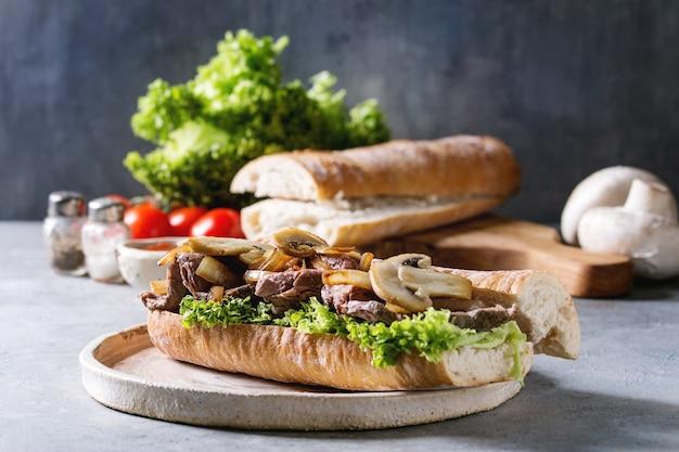 Beef baguette sandwich