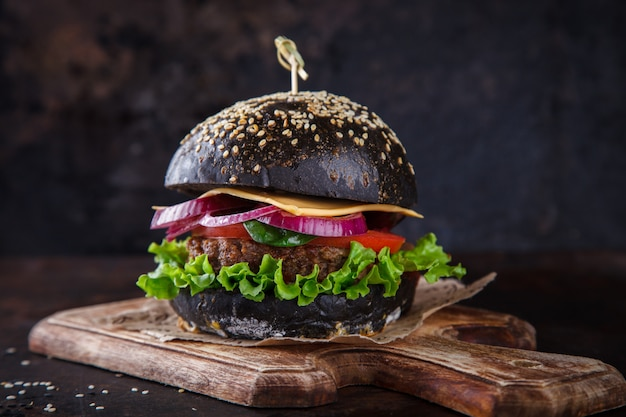 Beef burger with a black bun
