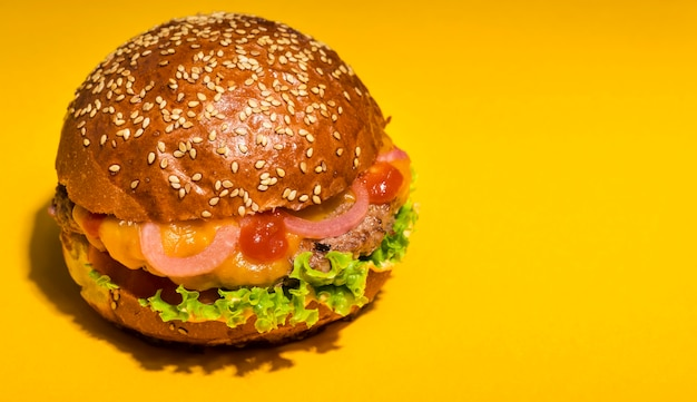 Beef burger with lettuce and tomatoes
