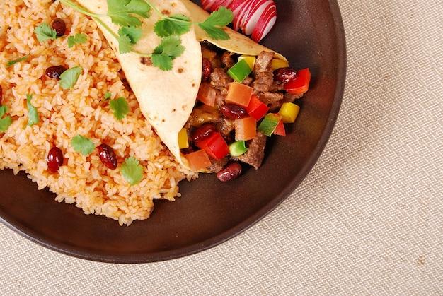 Beef burrito with rice
