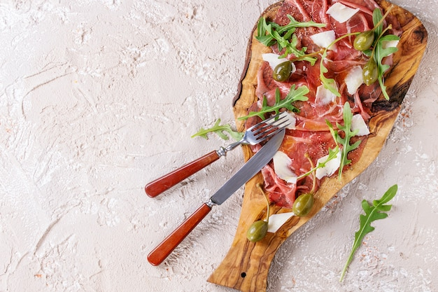 Beef carpaccio with capers