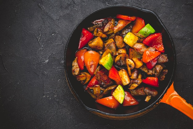Beef fajitas with colorfull bell peppers and mushrooms