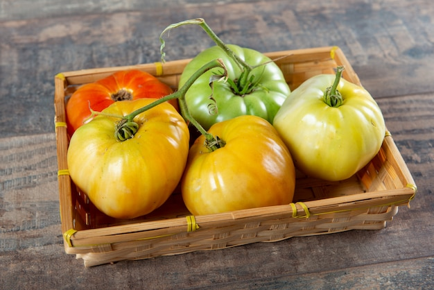 Beef heart tomatoes in the basket