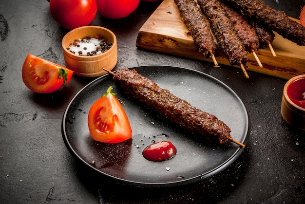 Beef meat shish kebab on a sticks