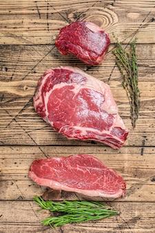 Beef meat steaks  fillet mignon, rib eye, striploin