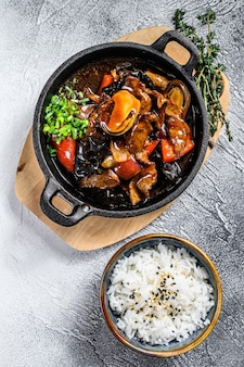 Beef meat in teriyaki sauce with rice