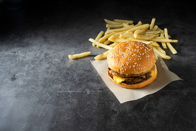 Beef or pork .hamburger and french fries on dark background