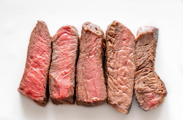 ビーフステーキ: レア度から完成度までの焼き加減
