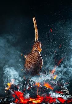 Beef steak is fried on the fire