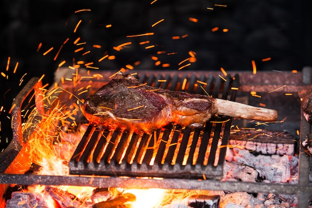 Beef steak in meat restaurant.