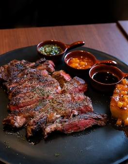 Beef steak with grilled pineapple and sweet sauce