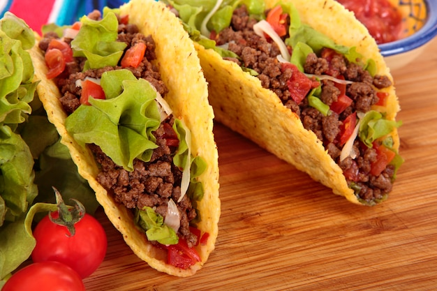 Beef tacos on wooden table