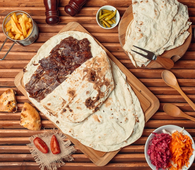 Beefsteak with mexican tortilla
