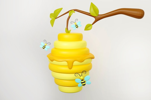 Beehive on tree branch and honey bees 3d rendering illustration