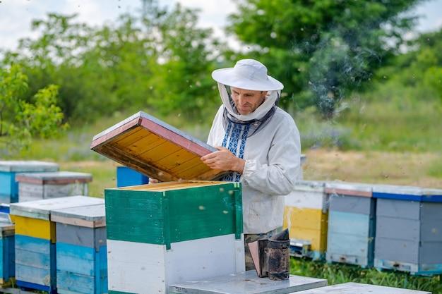 Пчеловод в защитной спецодежде. фон ульи на пасеке. весной работает на пасеках.