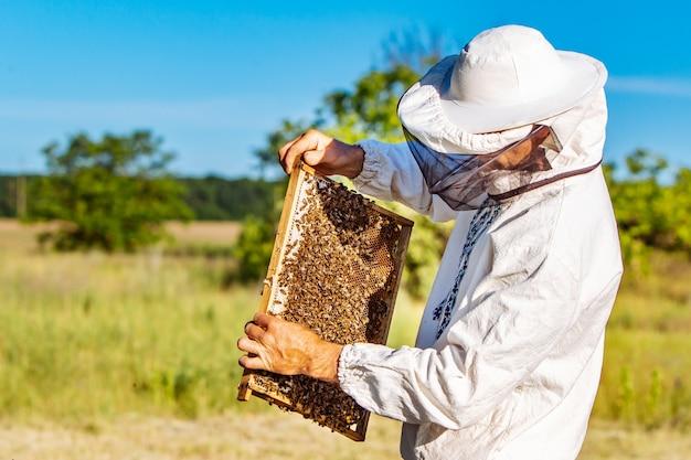 Пчеловод работает с пчелами на своей пасеке Premium Фотографии