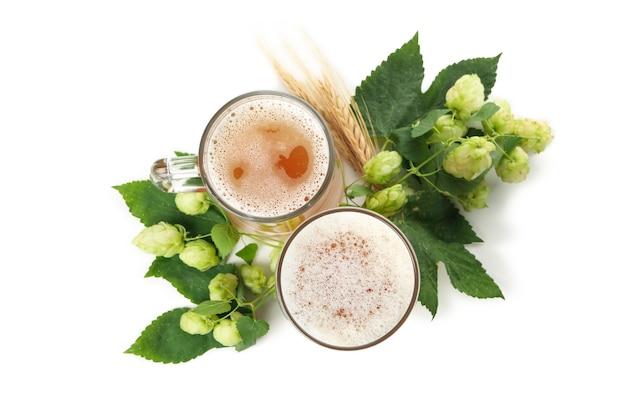 Пиво и зеленый хмель, изолированные на белом фоне