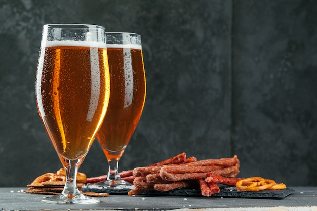 Beer and appetizing beer snacks set
