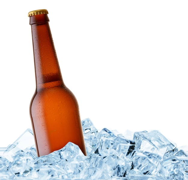 角氷で冷えるビール瓶