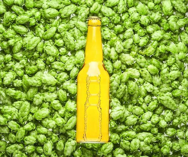 ビール瓶はホップコーンにあり、クローズアップ。
