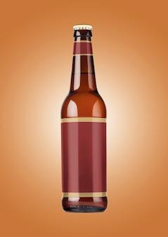 갈색 배경에 빈 레이블이 있는 맥주 병 모형. 옥토버 페스트 개념입니다.
