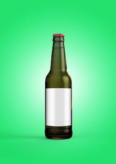 녹색 배경에 빈 레이블이 있는 맥주 병 모형. 옥토버 페스트 개념입니다.