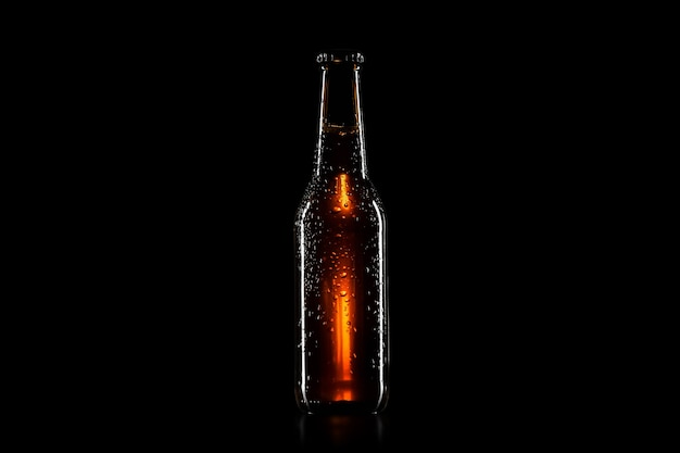 Beer bottle with black background