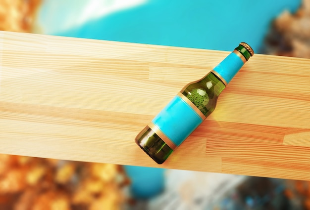 Beer bottle on a wooden plank and autumn background.