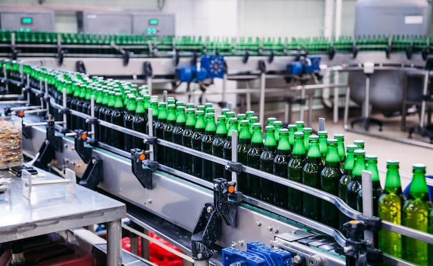 Beer bottles on the conveyor