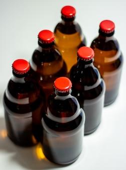 Beer bottles on gray