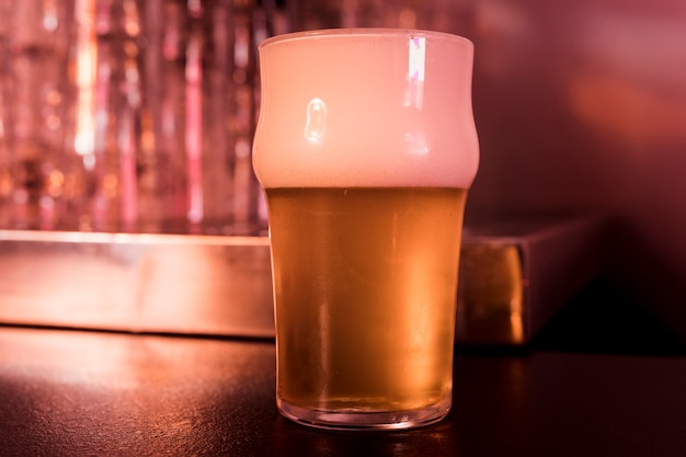 Beer glass in bar