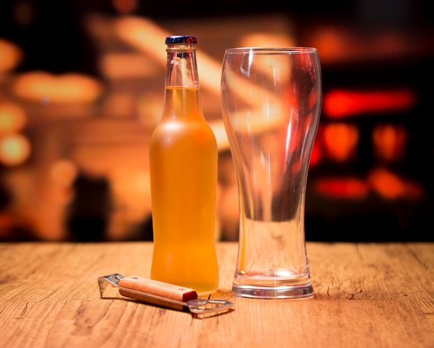 Beer glass with bottle and opener