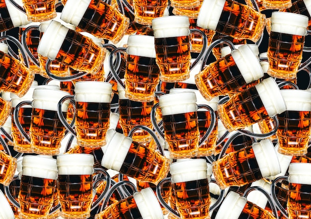 Beer glasses for background. creative texture with drinks.